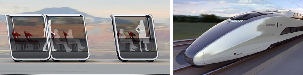 Left: next-future-mobility.com - Right: Mercury high-speed train by Priestmangoode